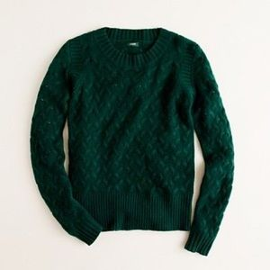 J. Crew Cable Knit Sweater in Forest Green